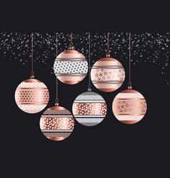 luxury rose gold xmas geometric baubles vector image