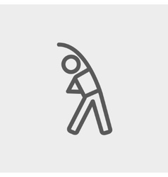 Man do strretching thin line icon vector image