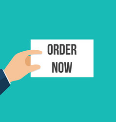 man showing paper order now text vector image