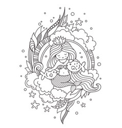 mermaid with beautiful long hair and two little vector image