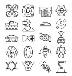 Modern thin line icons set of future technology vector