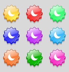 Moon icon sign symbol on nine wavy colourful vector