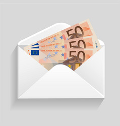 Open envelope and 50 euro bills cash vector