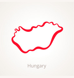 Outline map of hungary marked with red line vector