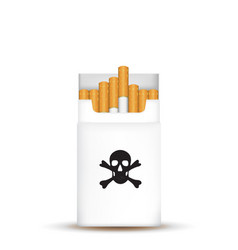 pack cigarettes with skull vector image