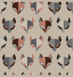 Paper foxes grey seamless pattern vector