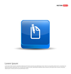 Pencil and note icon - 3d blue button vector