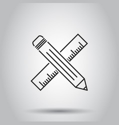 pencil with ruler icon on isolated background vector image