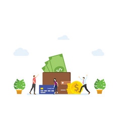 People happy in front large wallet filled vector