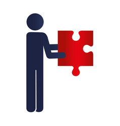 Person with puzzle game pieces isolated icon vector
