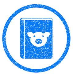 Pig book rounded grainy icon vector