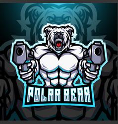 Polar bear gunner esport mascot logo vector
