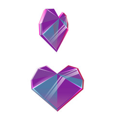 Polygonal purple crystal hearts isolated on white vector