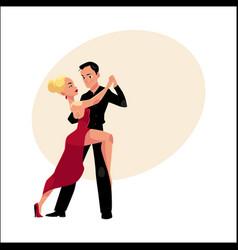 Professional ballroom dancers dancing tango vector