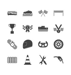 racing sport black icons set vector image vector image