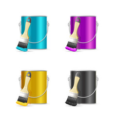 Realistic color steel can bucket and paint brush vector