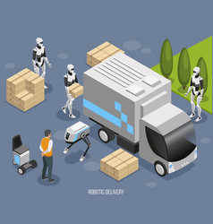 robot delivery isometric composition vector image