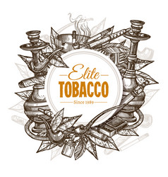 Round posters with tobacco and smoking set vector