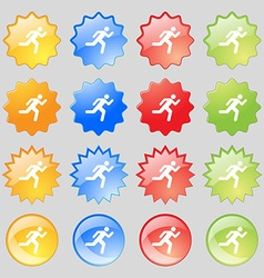 running man icon sign Big set of 16 colorful vector image