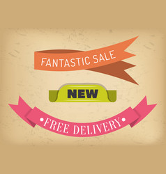 Sale and free delivery ribbons special offer vector