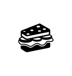 sandwich with cheese and sausage flat icon vector image