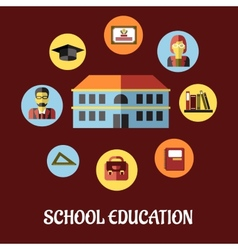 School education flat design vector image