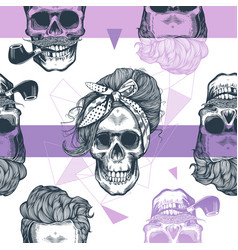 seamless pattern in pop art style with skeleton vector image