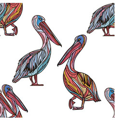 Seamless pattern with pelicans vector