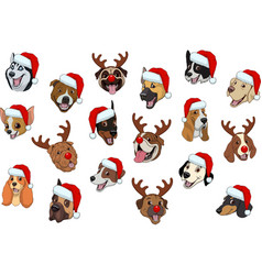 set dogs for christmas vector image