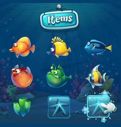 set of cartoon items in underwater world vector image