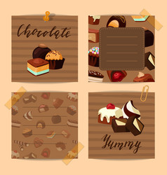 set of cute notes with cartoon chocolate vector image