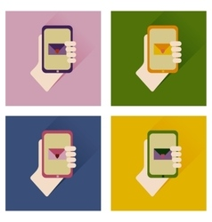 Set of flat icons with long shadow phone in hand vector