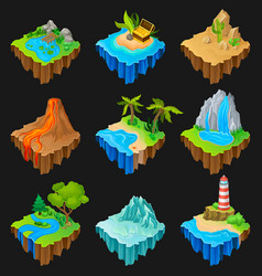 set of floating platforms with different vector image