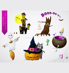 Set of halloween theme cartoons vector
