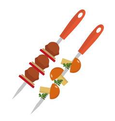 Shish kebab on skewers with pork and mushrooms vector