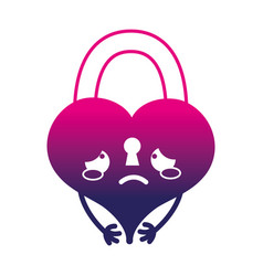 Silhouette crying heart padlock kawaii personage vector