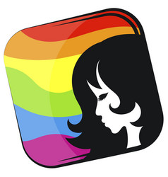 silhouette girl lgbt flag background vector image
