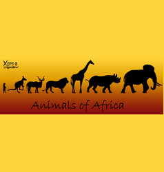 Silhouettes of animals of africa meerkat vector