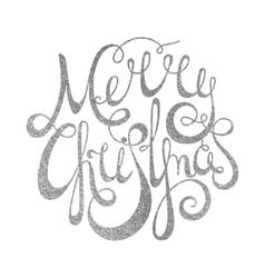 Silver handwritten inscription Merry Christmas vector