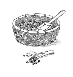 sketch wicker basket with grain and shovel vector image