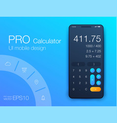 Smartphone with calculator app realistic vector