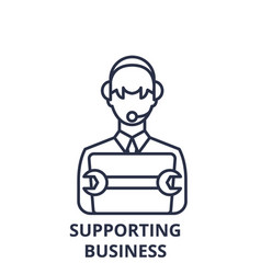 supporting business line icon concept supporting vector image