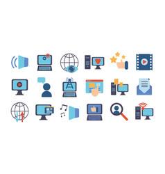 Technology data digital multimedia icons set vector