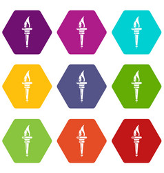torch icons set 9 vector image