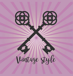 Vintage crossed keys on purple background vector