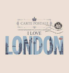 Vintage postcard with words i love london vector