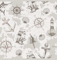 Vintage sea and marine seamless pattern vector