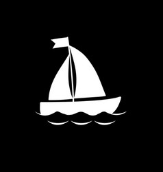 white silhouette of sailing ship isolated on vector image