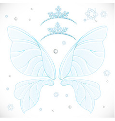 Winter frost magic fairy wings with two tiara vector