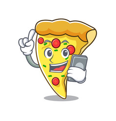 With phone pizza slice character cartoon vector